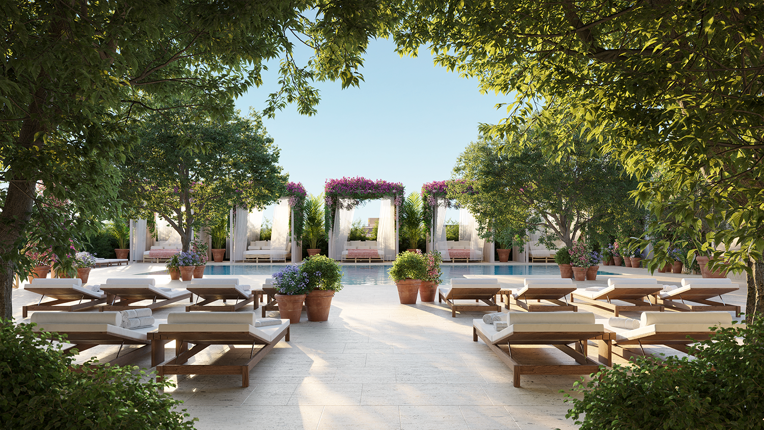 The Pool Terrace with lush landscaping and greenery at The Residences at The Tampa EDITION